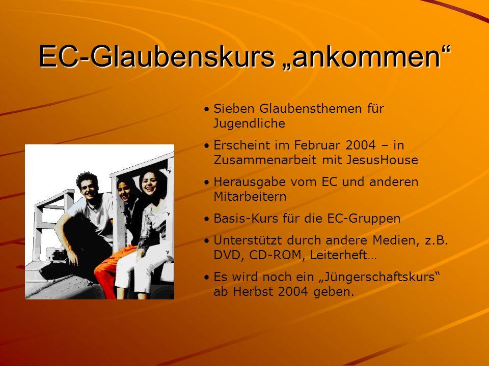 EC-Glaubenskurs ankommen Sieben Glaubensthemen für Jugendliche Erscheint im Februar 2004 – in Zusammenarbeit mit JesusHouse Herausgabe vom EC und ande