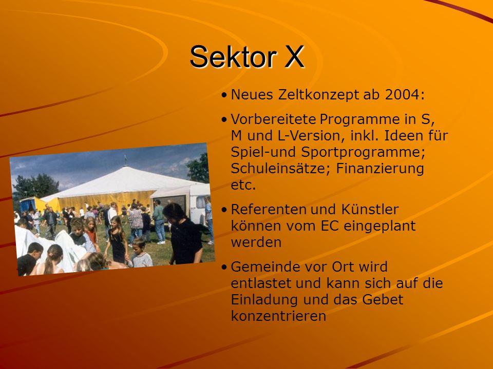 Sektor X Neues Zeltkonzept ab 2004: Vorbereitete Programme in S, M und L-Version, inkl. Ideen für Spiel-und Sportprogramme; Schuleinsätze; Finanzierun