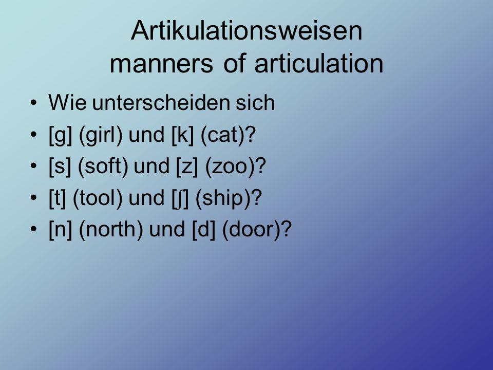 Artikulationsweisen manners of articulation Wie unterscheiden sich [g] (girl) und [k] (cat)? [s] (soft) und [z] (zoo)? [t] (tool) und [ ʃ ] (ship)? [n