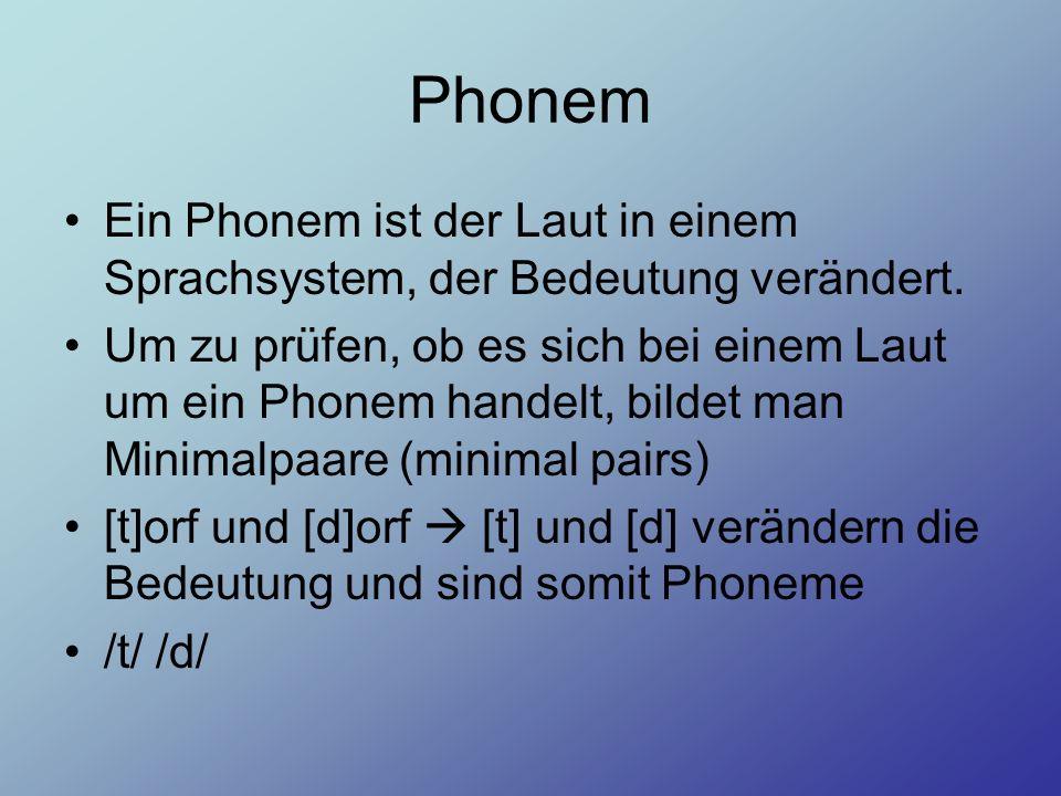 Phonem Ein Phonem ist der Laut in einem Sprachsystem, der Bedeutung verändert. Um zu prüfen, ob es sich bei einem Laut um ein Phonem handelt, bildet m