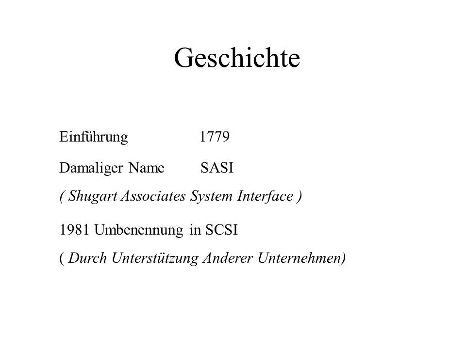 Geschichte Einführung1779 Damaliger Name SASI ( Shugart Associates System Interface ) 1981 Umbenennung in SCSI ( Durch Unterstützung Anderer Unternehmen)