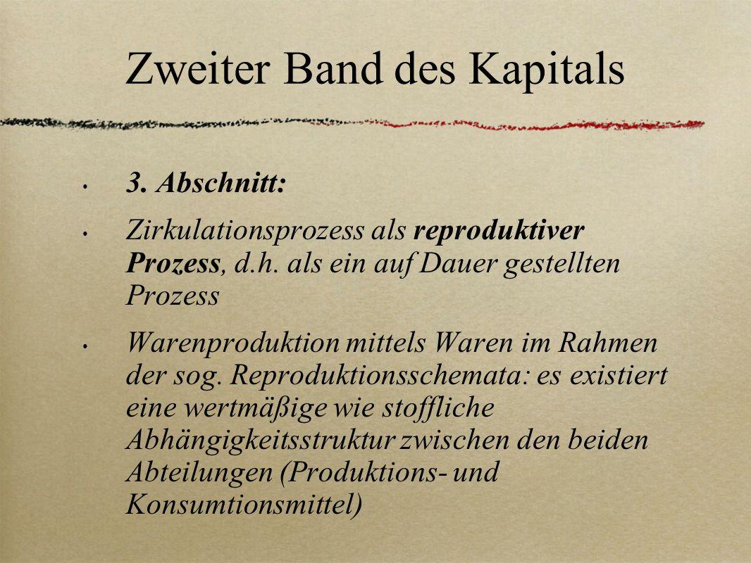 Zweiter Band des Kapitals 3. Abschnitt: Zirkulationsprozess als reproduktiver Prozess, d.h. als ein auf Dauer gestellten Prozess Warenproduktion mitte
