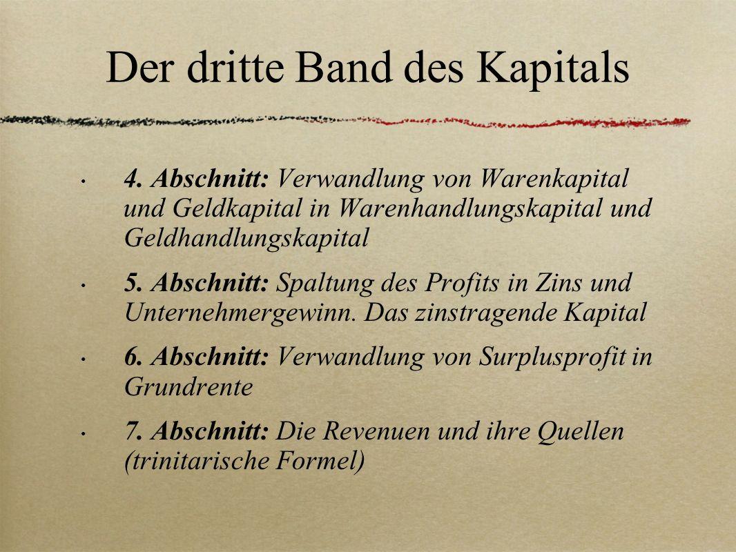 Der dritte Band des Kapitals 4. Abschnitt: Verwandlung von Warenkapital und Geldkapital in Warenhandlungskapital und Geldhandlungskapital 5. Abschnitt