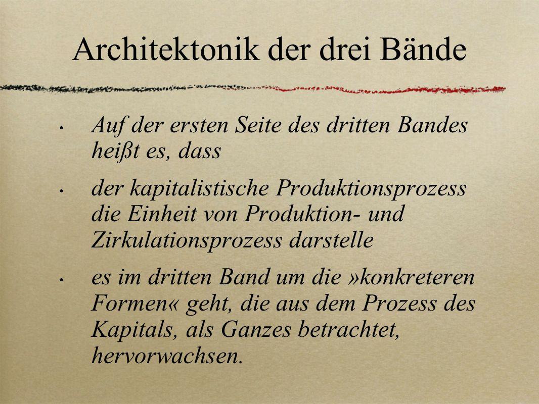 Architektonik der drei Bände Auf der ersten Seite des dritten Bandes heißt es, dass der kapitalistische Produktionsprozess die Einheit von Produktion-