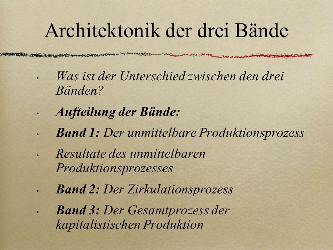 Architektonik der drei Bände Was ist der Unterschied zwischen den drei Bänden? Aufteilung der Bände: Band 1: Der unmittelbare Produktionsprozess Resul