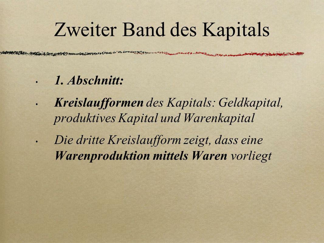 Zweiter Band des Kapitals 1. Abschnitt: Kreislaufformen des Kapitals: Geldkapital, produktives Kapital und Warenkapital Die dritte Kreislaufform zeigt