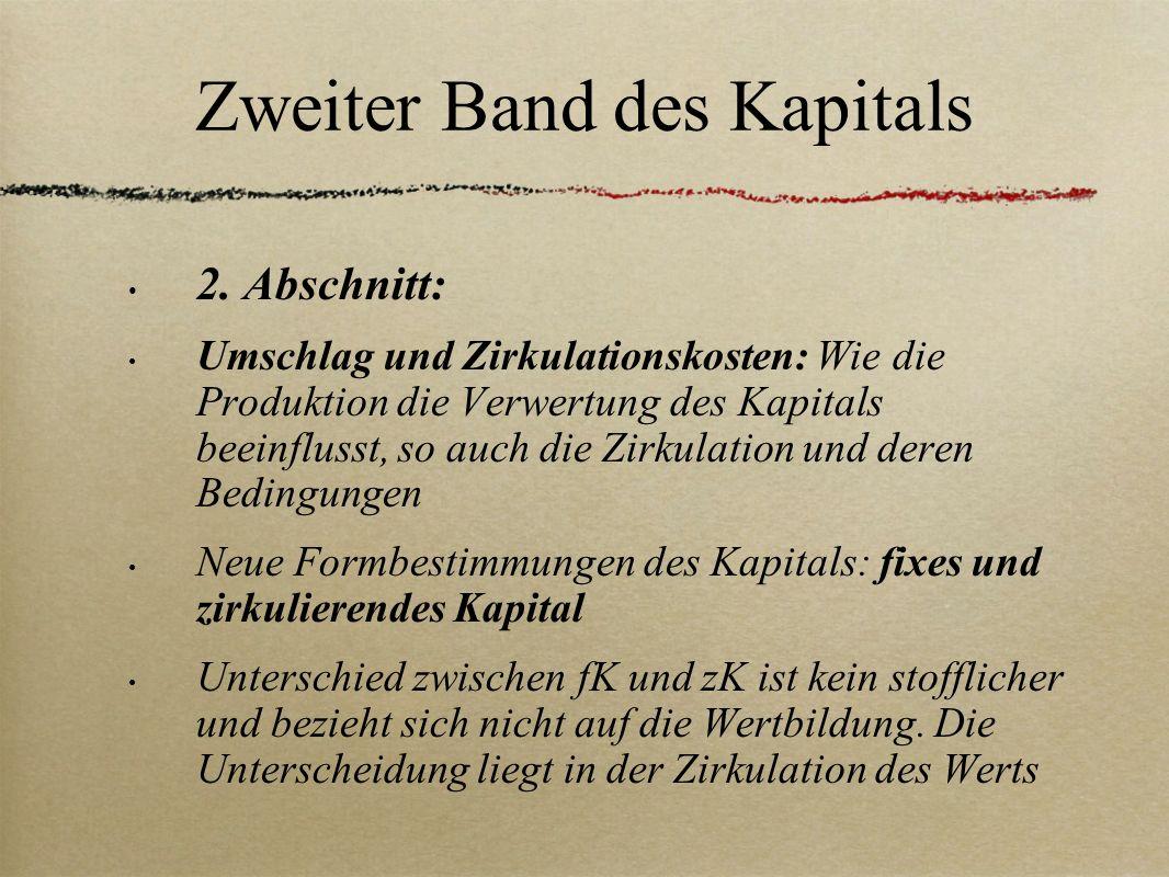Zweiter Band des Kapitals 2. Abschnitt: Umschlag und Zirkulationskosten: Wie die Produktion die Verwertung des Kapitals beeinflusst, so auch die Zirku