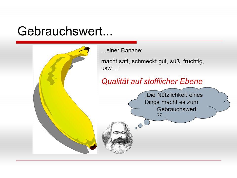 Wert und Tauschwert: Zusammenfassung wertbildende Substanz, abstrakt, menschliche Arbeit = 3 1 Gemeinsames, Drittes, bildet WERT = Die 3 Bananen drücken den Wert der Limonade aus.
