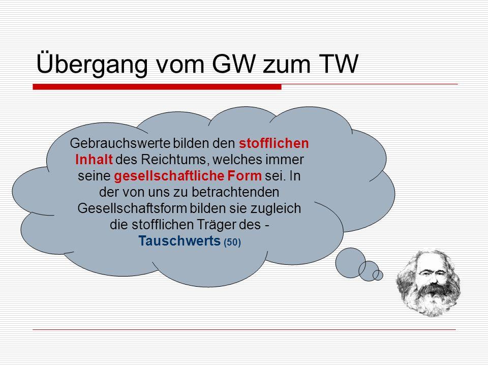 Übergang vom GW zum TW Gebrauchswerte bilden den stofflichen Inhalt des Reichtums, welches immer seine gesellschaftliche Form sei. In der von uns zu b