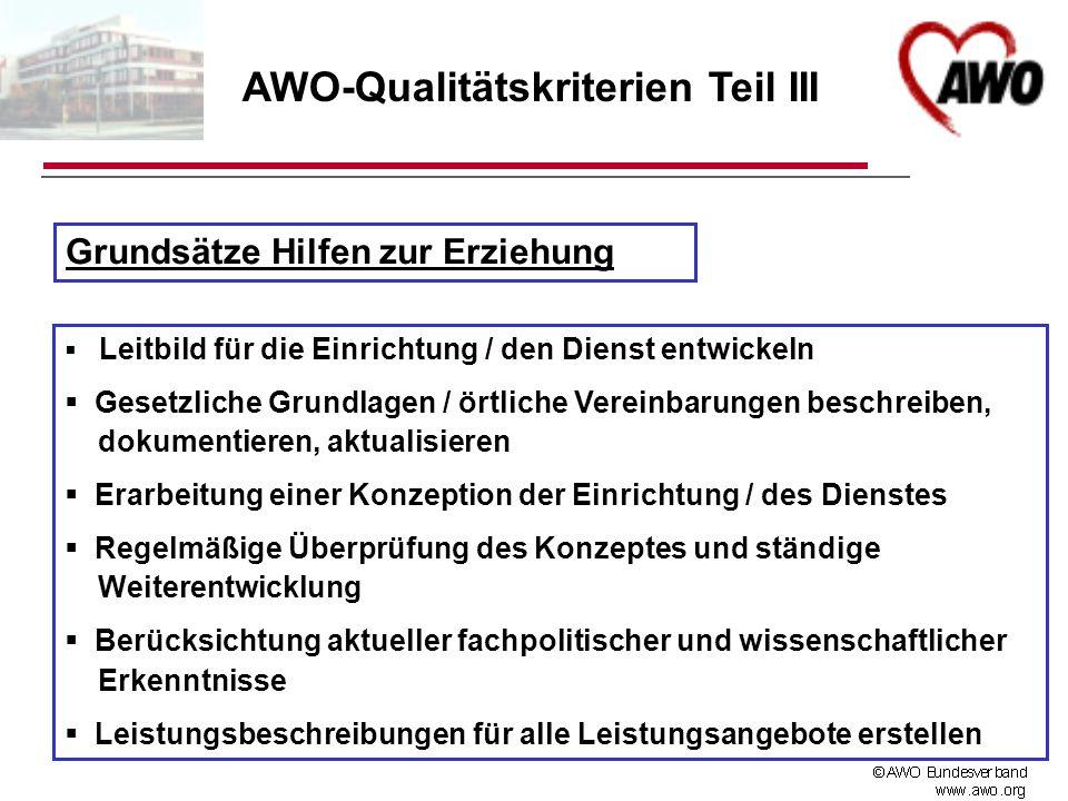AWO-Qualitätskriterien Teil III Grundsätze Hilfen zur Erziehung Leitbild für die Einrichtung / den Dienst entwickeln Gesetzliche Grundlagen / örtliche