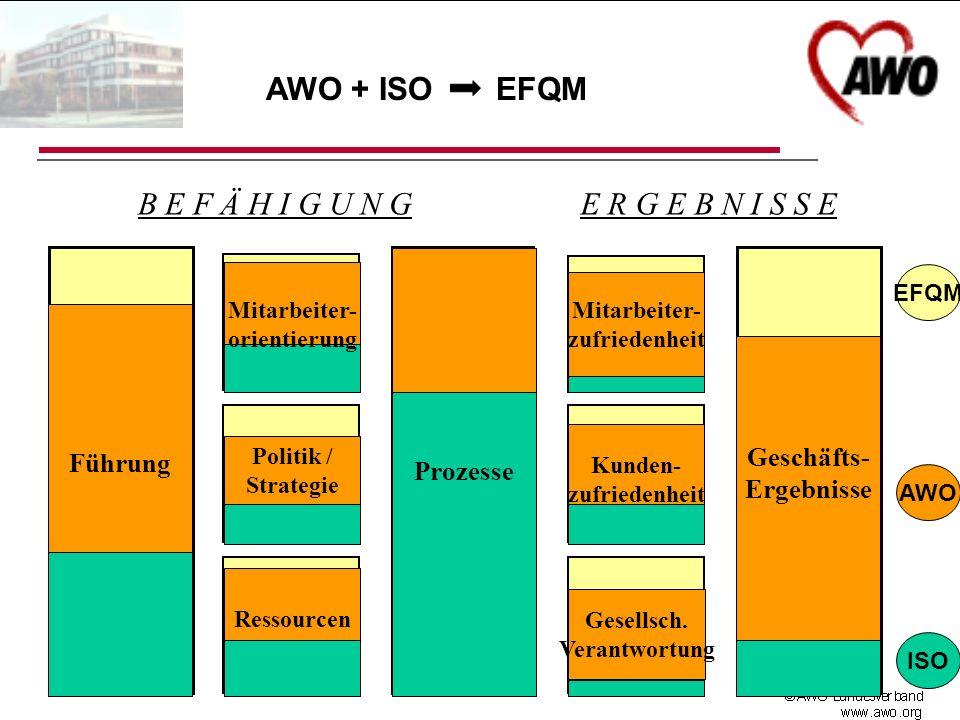 FührungProzesse Geschäfts- ergebnisse Ressourcen Mitarbeiter- orientierung Politik / Strategie Mitarbeiter- zufriedenheit Kunden- zufriedenheit B E F