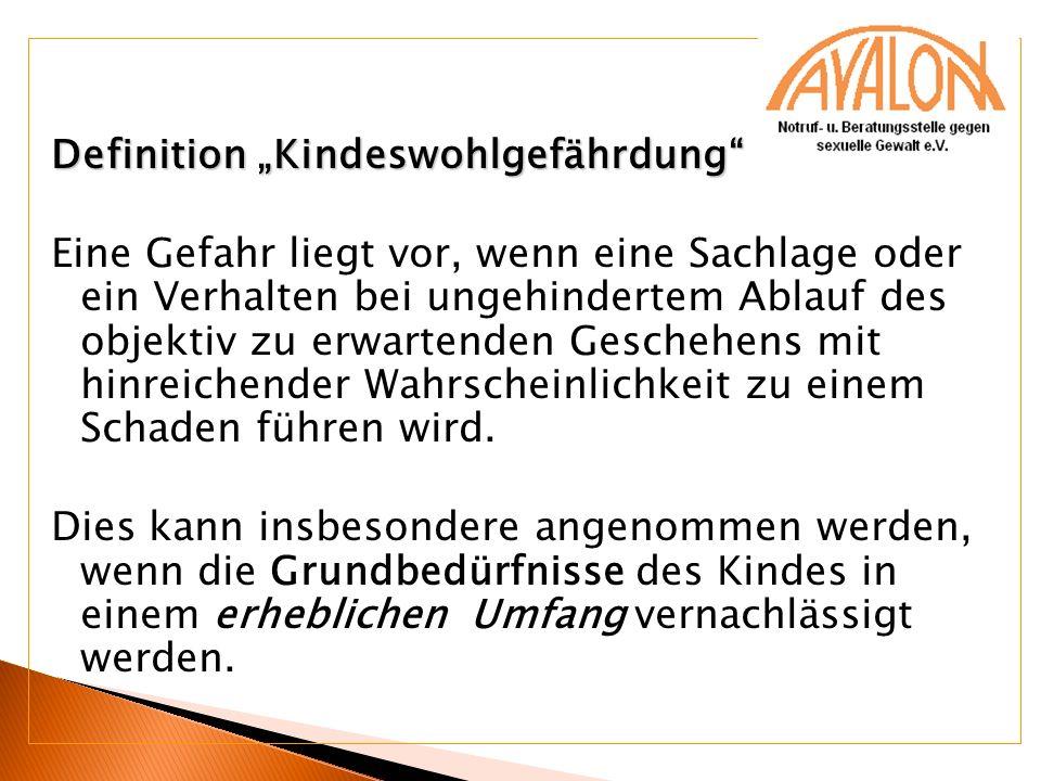 Definition Kindeswohlgefährdung Eine Gefahr liegt vor, wenn eine Sachlage oder ein Verhalten bei ungehindertem Ablauf des objektiv zu erwartenden Gesc