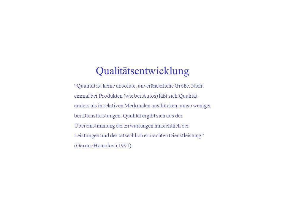 Qualitätsentwicklung Qualität ist keine absolute, unveränderliche Größe. Nicht einmal bei Produkten (wie bei Autos) läßt sich Qualität anders als in r