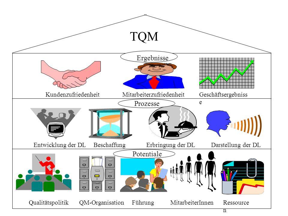TQM QualitätspolitikRessource n FührungQM-Organisation Geschäftsergebniss e Darstellung der DLEntwicklung der DL Kundenzufriedenheit Erbringung der DL