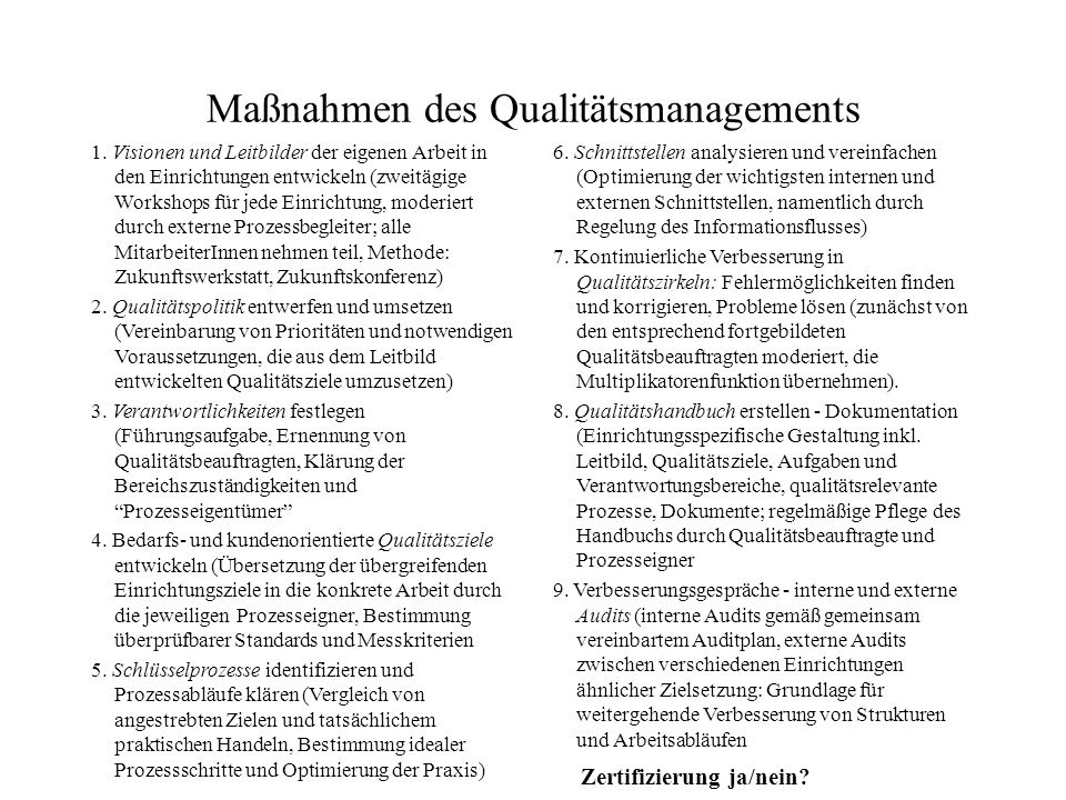 Maßnahmen des Qualitätsmanagements 1. Visionen und Leitbilder der eigenen Arbeit in den Einrichtungen entwickeln (zweitägige Workshops für jede Einric