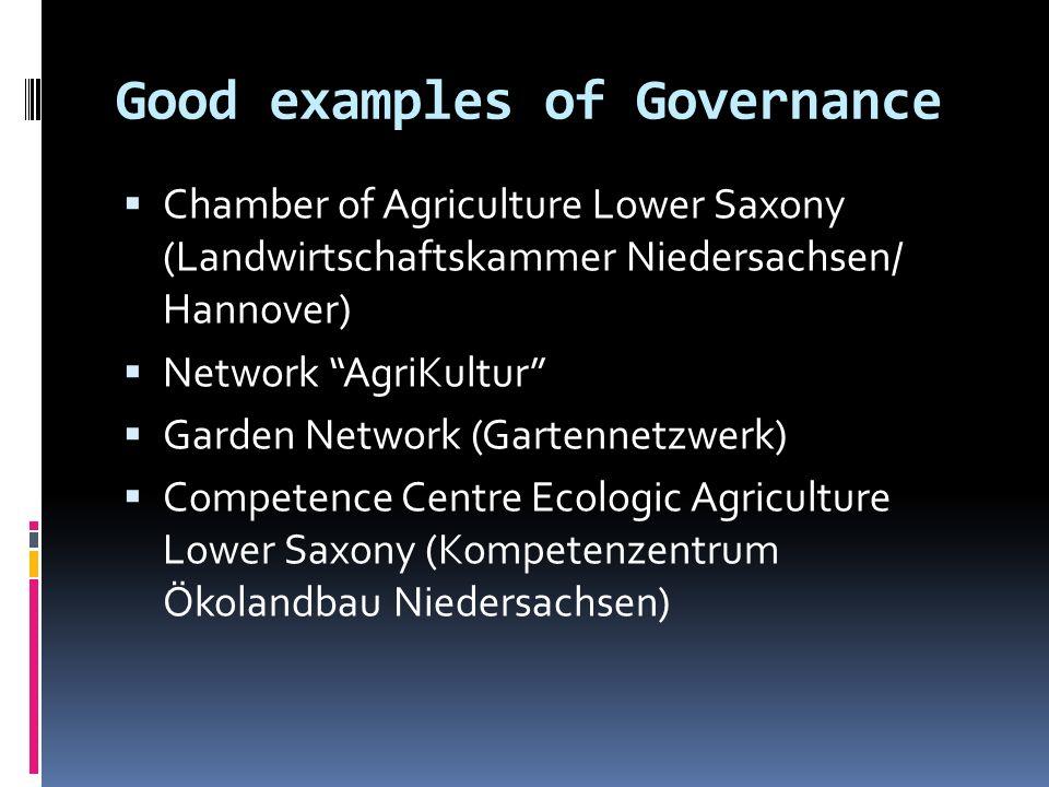 Good examples of Governance Chamber of Agriculture Lower Saxony (Landwirtschaftskammer Niedersachsen/ Hannover) Network AgriKultur Garden Network (Gar