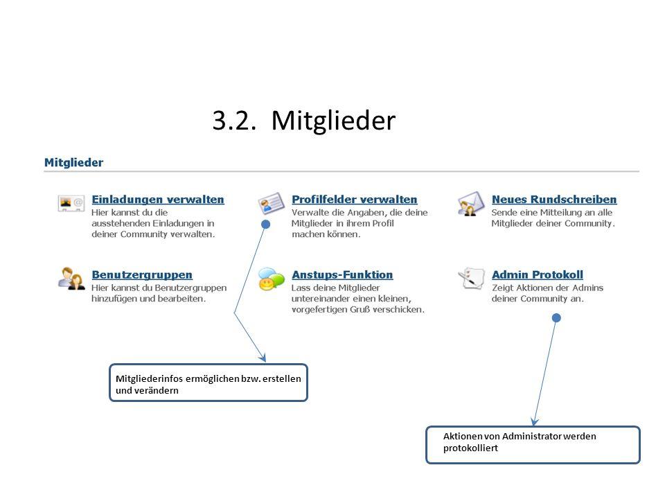 3.2. Mitglieder Mitgliederinfos ermöglichen bzw. erstellen und verändern Aktionen von Administrator werden protokolliert