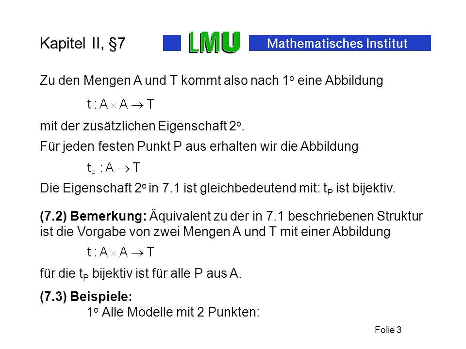 Folie 2 §7 Der affine Raum – Teil 1: Punkte und Translationen Entwicklung eines mathematisch gefassten Raumbegriffs Affiner Raum, um zunächst den Grup