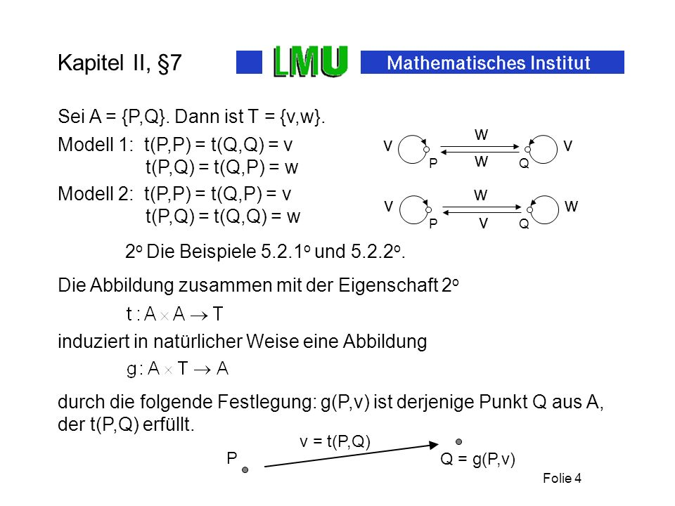 Folie 3 Kapitel II, §7 Zu den Mengen A und T kommt also nach 1 o eine Abbildung Die Eigenschaft 2 o in 7.1 ist gleichbedeutend mit: t P ist bijektiv.