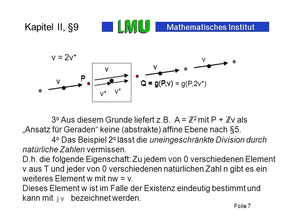Folie 6 Kapitel II, §9 1 o 1v = v. (9.5) Lemma: Für alle abelschen Gruppen T operiert auf T durch Dabei sind für v,w aus T und r,s aus die folgenden R