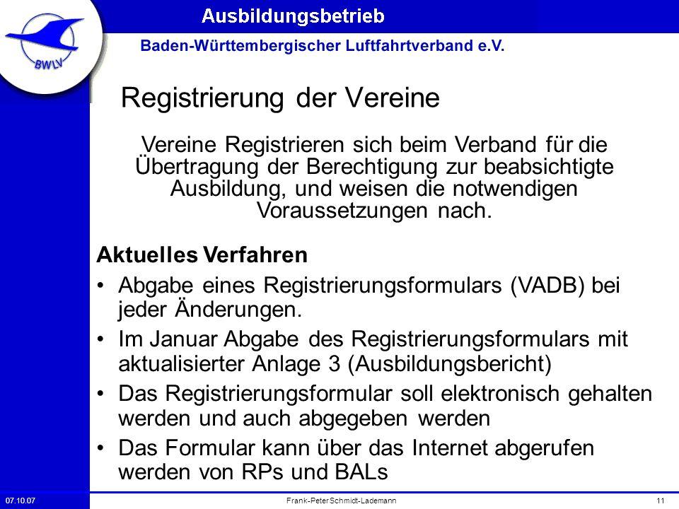 07.10.0711Frank-Peter Schmidt-Lademann Registrierung der Vereine Vereine Registrieren sich beim Verband für die Übertragung der Berechtigung zur beabs