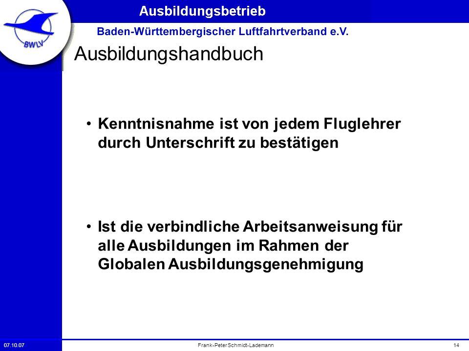 07.10.0714Frank-Peter Schmidt-Lademann Ausbildungshandbuch Kenntnisnahme ist von jedem Fluglehrer durch Unterschrift zu bestätigen Ist die verbindlich