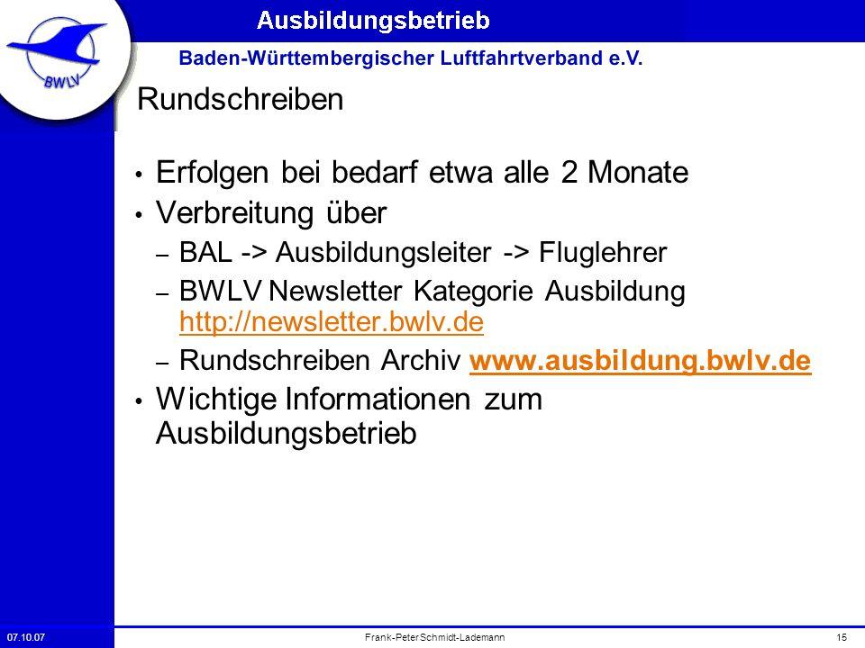 07.10.0715Frank-Peter Schmidt-Lademann Rundschreiben Erfolgen bei bedarf etwa alle 2 Monate Verbreitung über – BAL -> Ausbildungsleiter -> Fluglehrer