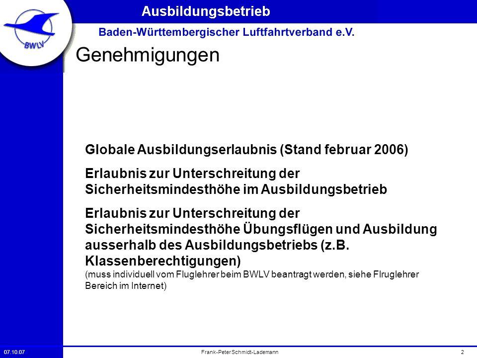 07.10.072Frank-Peter Schmidt-Lademann Genehmigungen Globale Ausbildungserlaubnis (Stand februar 2006) Erlaubnis zur Unterschreitung der Sicherheitsmin