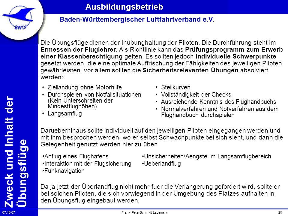 07.10.0720Frank-Peter Schmidt-Lademann Zweck und Inhalt der Übungsflüge Die Übungsflüge dienen der Inübunghaltung der Piloten. Die Durchführung steht