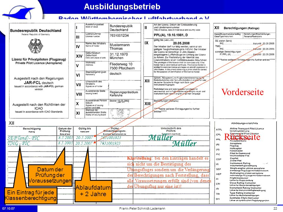 07.10.0722Frank-Peter Schmidt-Lademann Beispiel Eines Verlänerungseintrags Vorderseite Rückseite SEP(land) - PIC 20.5.2007 7631001923 Müller TMG - PIC