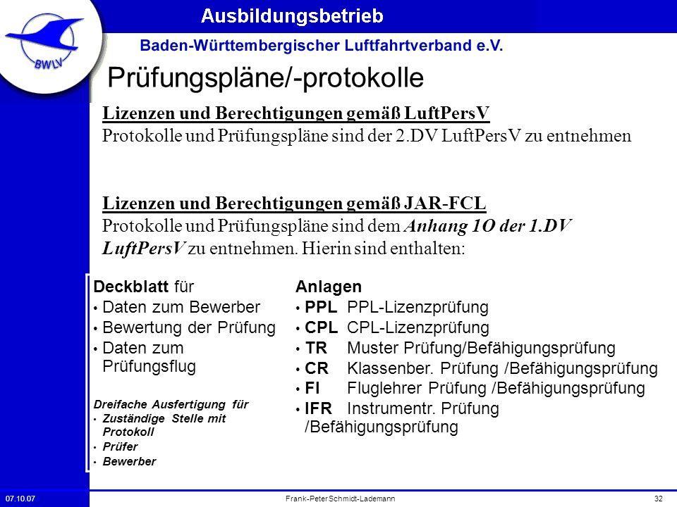 07.10.0732Frank-Peter Schmidt-Lademann Prüfungspläne/-protokolle Lizenzen und Berechtigungen gemäß LuftPersV Protokolle und Prüfungspläne sind der 2.D