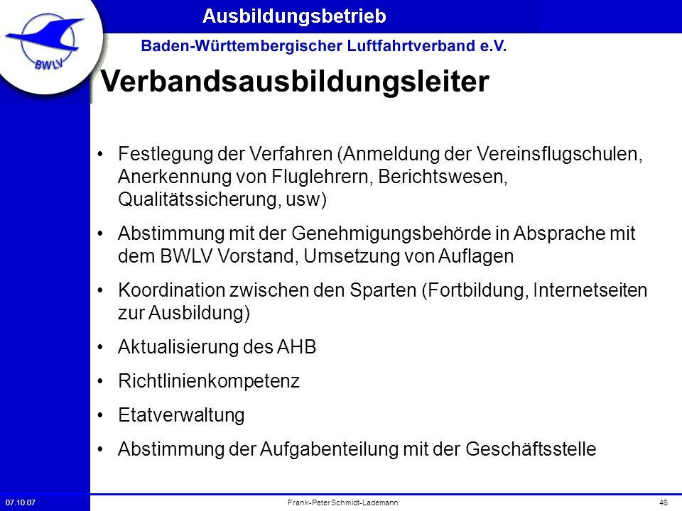 07.10.0746Frank-Peter Schmidt-Lademann Verbandsausbildungsleiter Festlegung der Verfahren (Anmeldung der Vereinsflugschulen, Anerkennung von Fluglehre