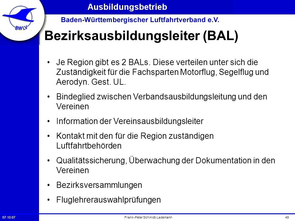 07.10.0749Frank-Peter Schmidt-Lademann Bezirksausbildungsleiter (BAL) Je Region gibt es 2 BALs. Diese verteilen unter sich die Zuständigkeit für die F
