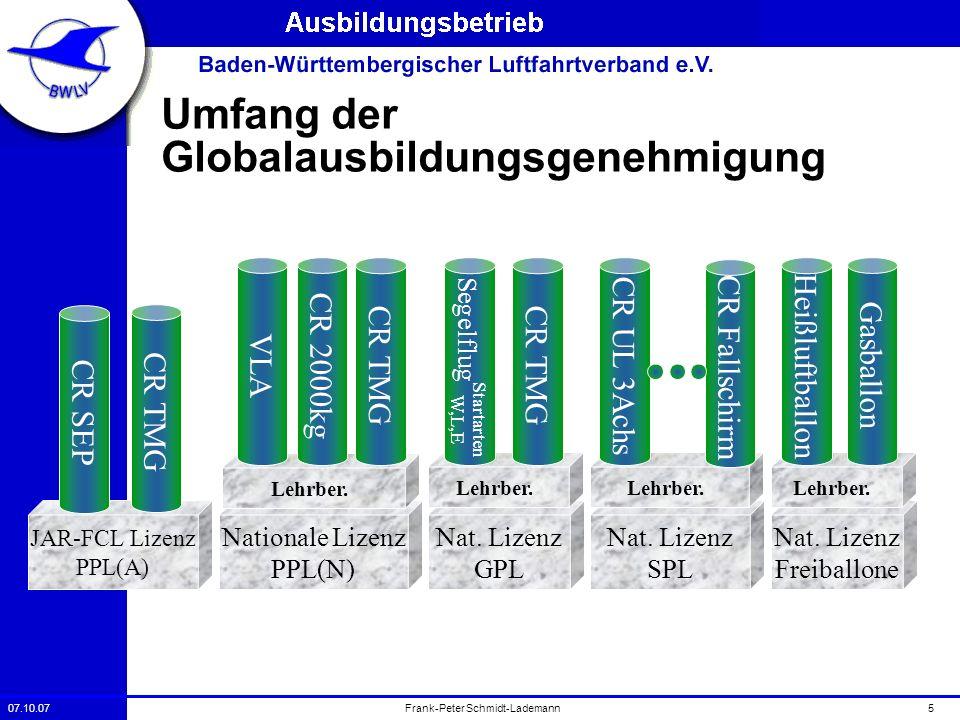 07.10.075Frank-Peter Schmidt-Lademann Nationale Lizenz PPL(N) Nat. Lizenz GPL Lehrber. Segelflug CR TMG Startarten W,L,E JAR-FCL Lizenz PPL(A) CR SEP