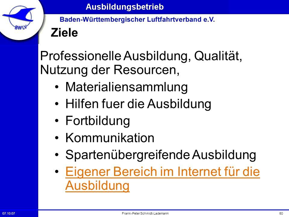 07.10.0750Frank-Peter Schmidt-Lademann Ziele Professionelle Ausbildung, Qualität, Nutzung der Resourcen, Materialiensammlung Hilfen fuer die Ausbildun
