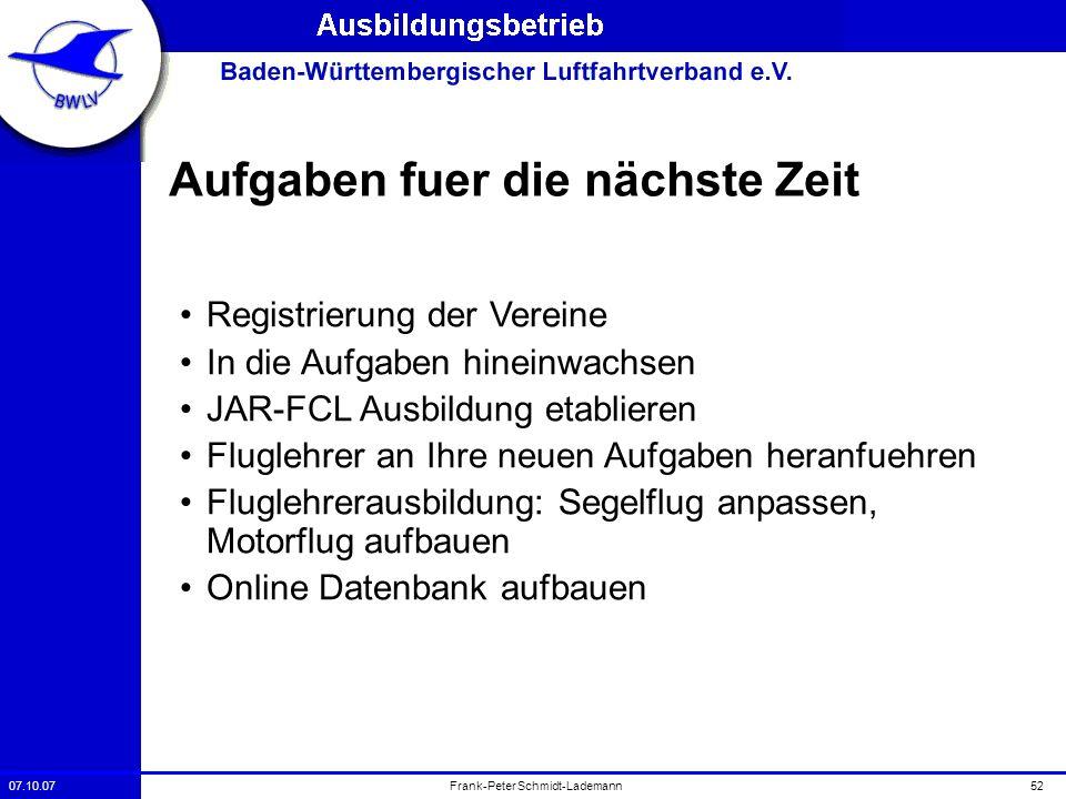 07.10.0752Frank-Peter Schmidt-Lademann Aufgaben fuer die nächste Zeit Registrierung der Vereine In die Aufgaben hineinwachsen JAR-FCL Ausbildung etabl
