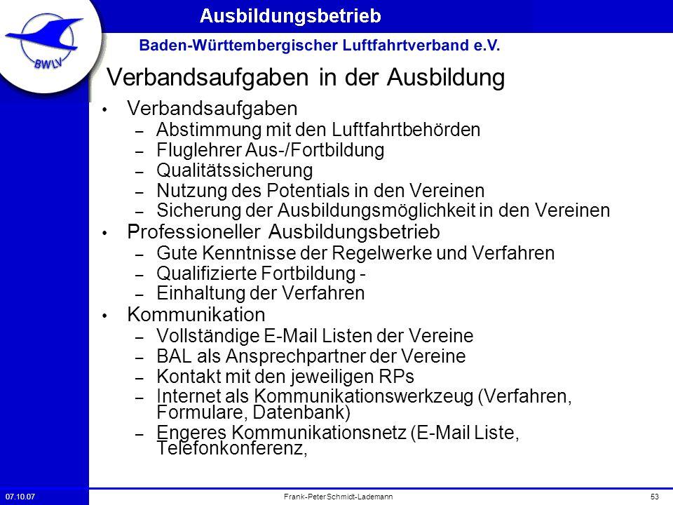 07.10.0753Frank-Peter Schmidt-Lademann Verbandsaufgaben in der Ausbildung Verbandsaufgaben – Abstimmung mit den Luftfahrtbehörden – Fluglehrer Aus-/Fo