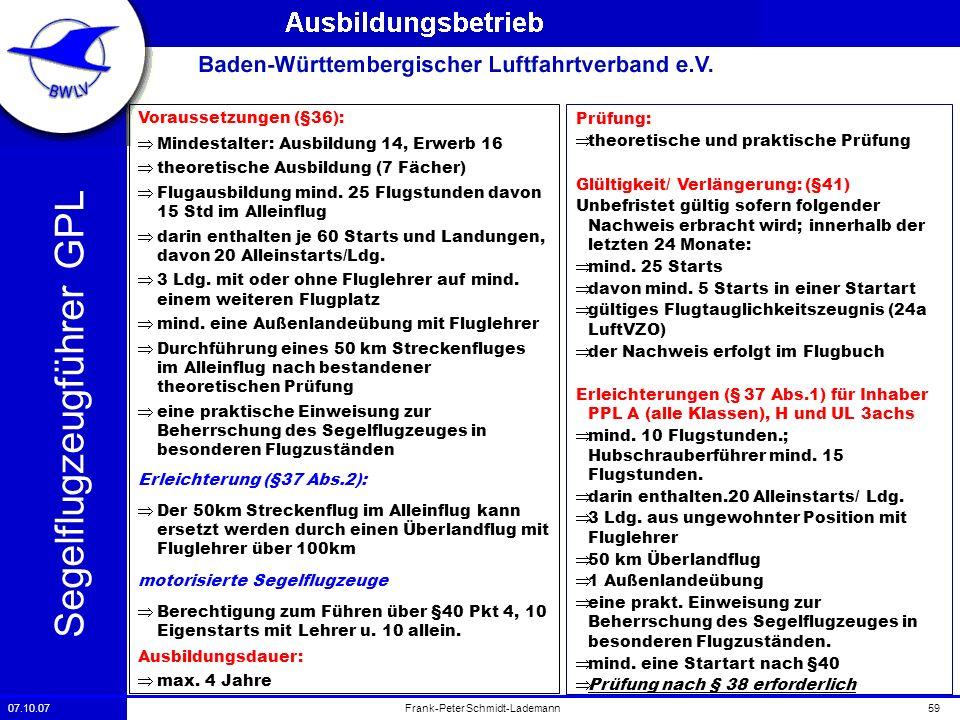 07.10.0759Frank-Peter Schmidt-Lademann Segelflugzeugführer GPL Voraussetzungen (§36): Mindestalter: Ausbildung 14, Erwerb 16 theoretische Ausbildung (