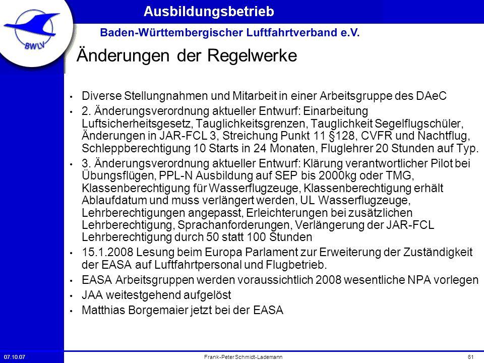 07.10.0761Frank-Peter Schmidt-Lademann Änderungen der Regelwerke Diverse Stellungnahmen und Mitarbeit in einer Arbeitsgruppe des DAeC 2. Änderungsvero