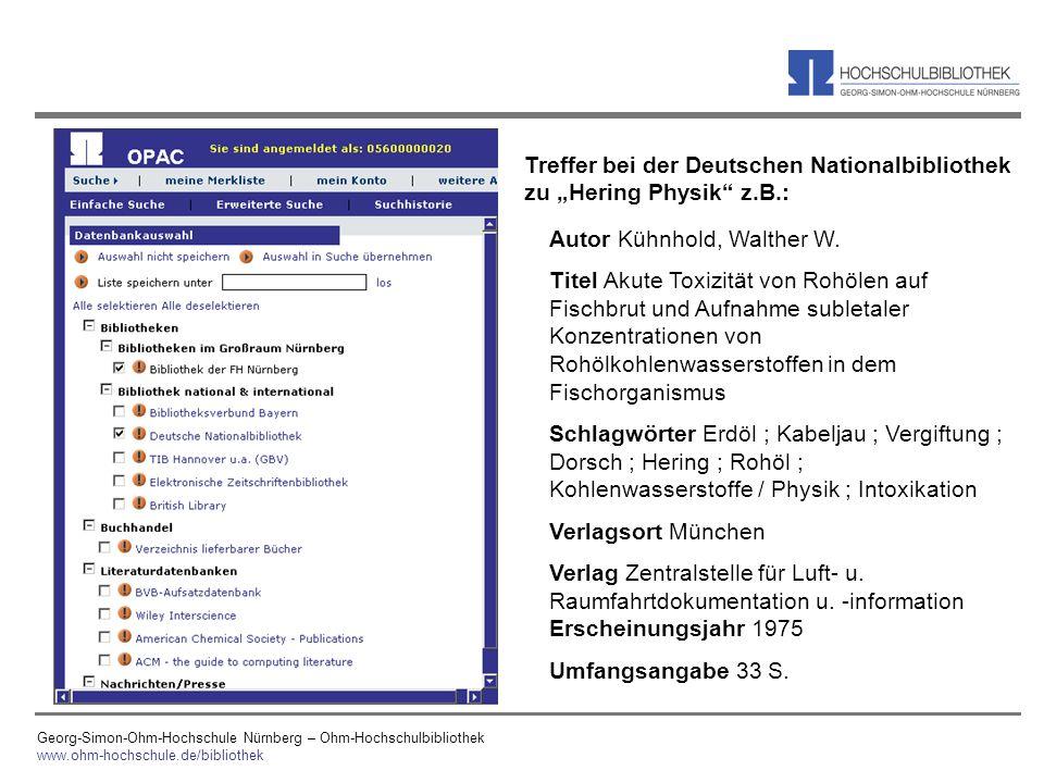 Georg-Simon-Ohm-Hochschule Nürnberg – Ohm-Hochschulbibliothek www.ohm-hochschule.de/bibliothek Autor Kühnhold, Walther W. Titel Akute Toxizität von Ro