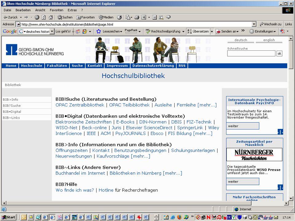 Georg-Simon-Ohm-Hochschule Nürnberg – Ohm-Hochschulbibliothek www.ohm-hochschule.de/bibliothek