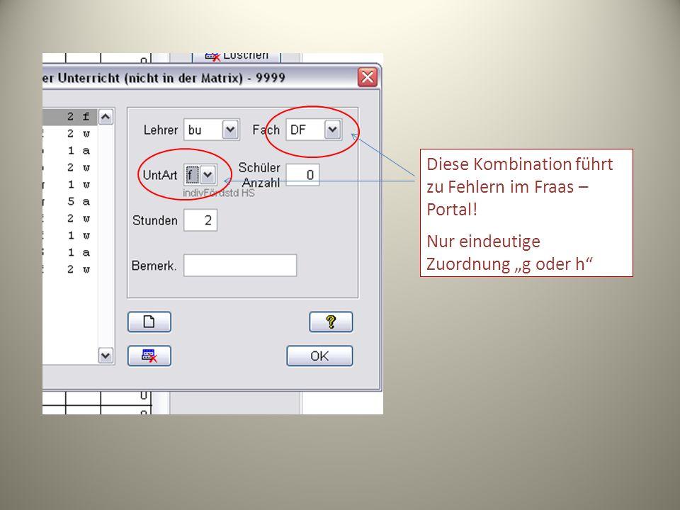 Diese Kombination führt zu Fehlern im Fraas – Portal! Nur eindeutige Zuordnung g oder h
