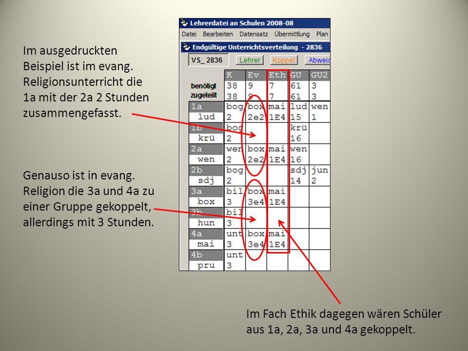 Im Fach Ethik dagegen wären Schüler aus 1a, 2a, 3a und 4a gekoppelt. Im ausgedruckten Beispiel ist im evang. Religionsunterricht die 1a mit der 2a 2 S