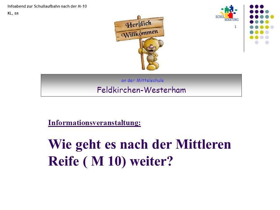 Infoabend zur Schullaufbahn nach der M-10 KL, BR 2 Die M-10 Abschlussprüfung Deutsch Mathematik Englisch Projektprüfung -> ( AWT + Praxisfach) 70% eines Schülerjahrganges erreichen die Mittlere Reife.