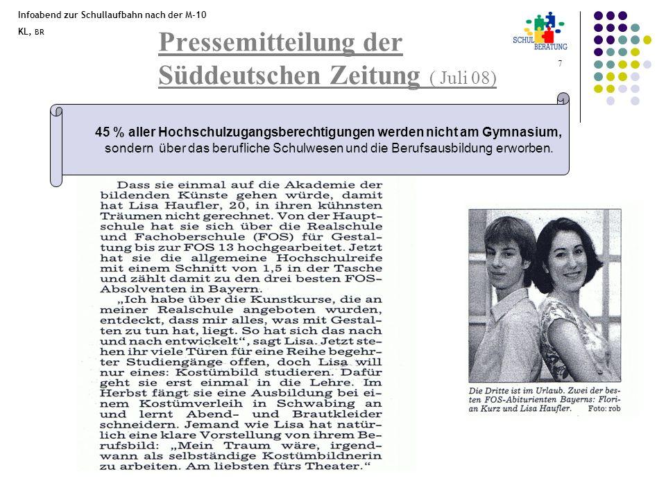 Infoabend zur Schullaufbahn nach der M-10 KL, BR 7 Pressemitteilung der Süddeutschen Zeitung ( Juli 08) 45 % aller Hochschulzugangsberechtigungen werd