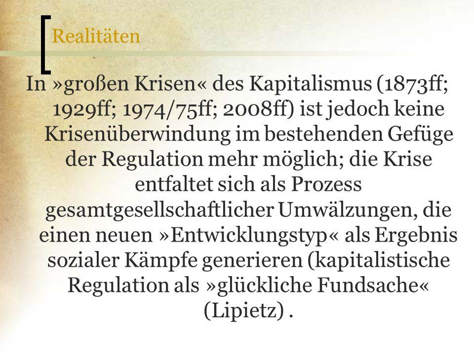 Realitäten In »großen Krisen« des Kapitalismus (1873ff; 1929ff; 1974/75ff; 2008ff) ist jedoch keine Krisenüberwindung im bestehenden Gefüge der Regula