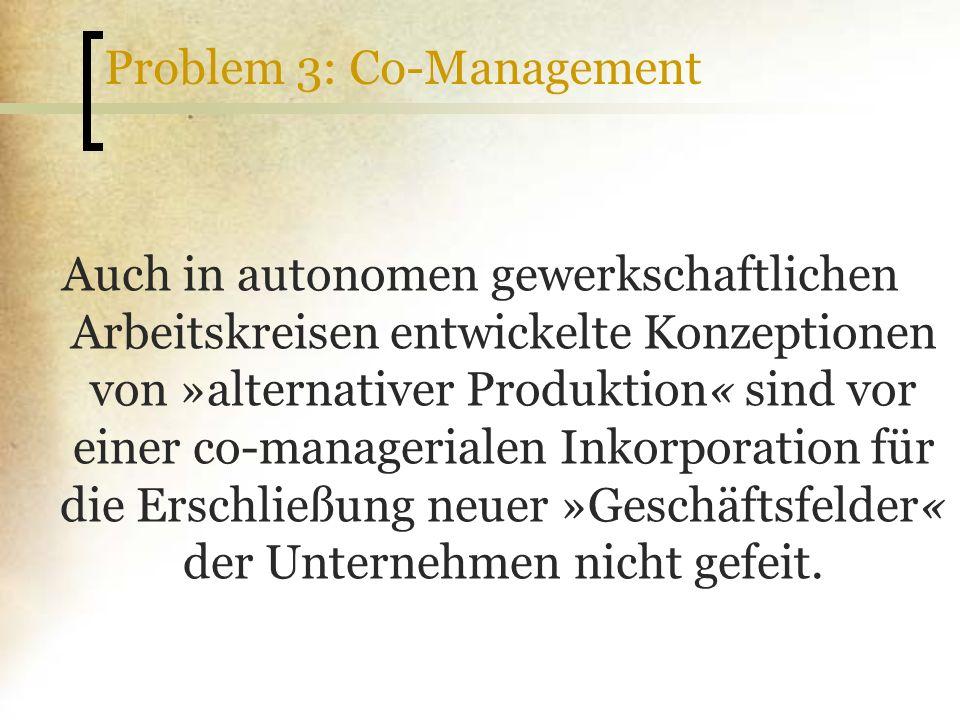 Problem 3: Co-Management Auch in autonomen gewerkschaftlichen Arbeitskreisen entwickelte Konzeptionen von »alternativer Produktion« sind vor einer co-