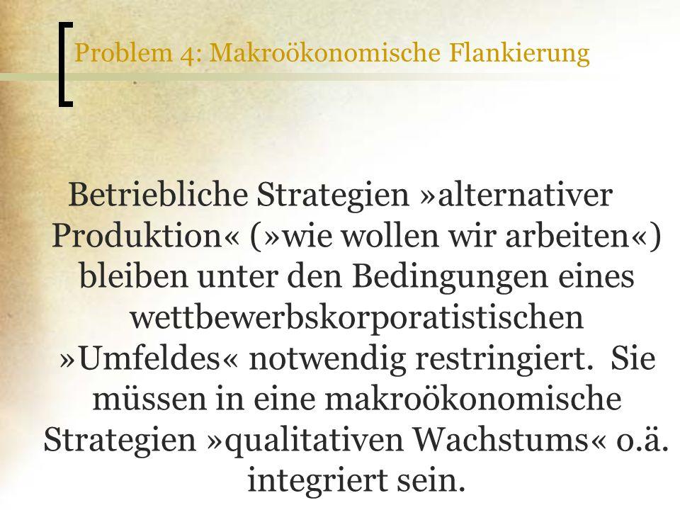 Problem 4: Makroökonomische Flankierung Betriebliche Strategien »alternativer Produktion« (»wie wollen wir arbeiten«) bleiben unter den Bedingungen ei