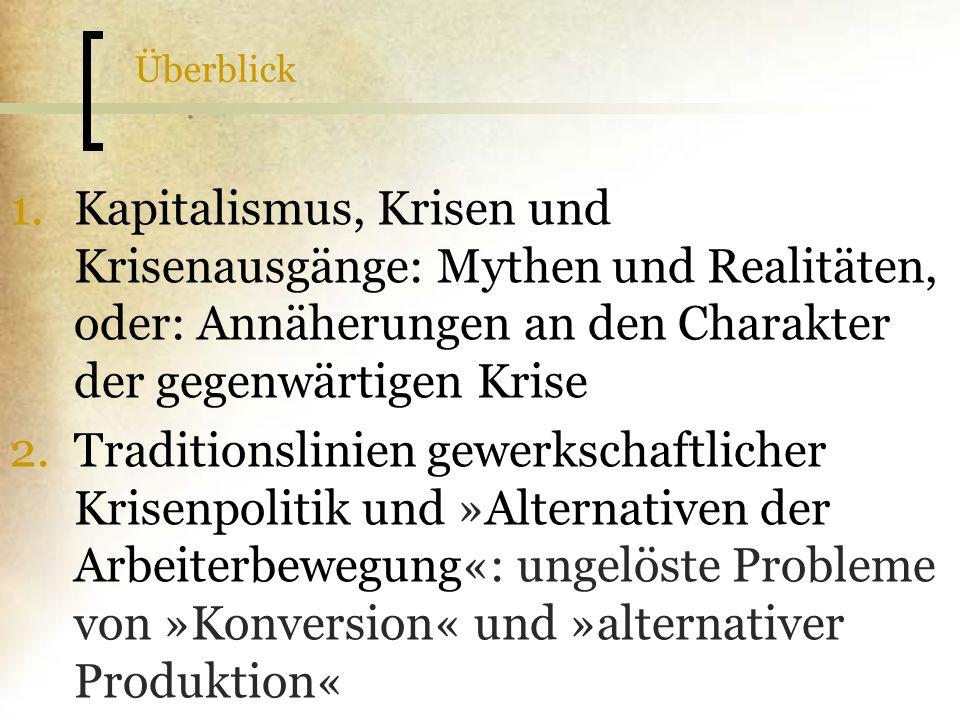 Überblick 1.Kapitalismus, Krisen und Krisenausgänge: Mythen und Realitäten, oder: Annäherungen an den Charakter der gegenwärtigen Krise 2.Traditionsli