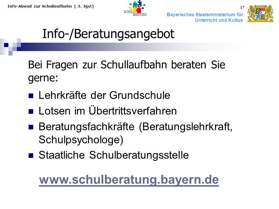 Bayerisches Staatsministerium für Unterricht und Kultus Info-Abend zur Schullaufbahn ( 3. Jgst) 17 Info-/Beratungsangebot Lehrkräfte der Grundschule L